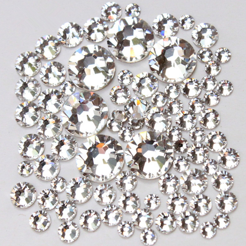 1000pc/Pack Mix Size (ss3 ss4 ss5 ss6 ss8 ss10 ss12 ss16) Non Hotfix Glass Crystal Clear For Nail Art Flatback Rhinestones