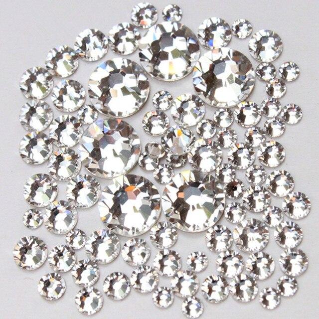 1000pc/Pack Mix Size (ss3 ss4 ss5 ss6 ss8 ss10 ss12 ss16) Non Hotfix Glass Crystal Clear For Nail Art Flatback Rhinestones