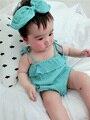 Infantil Bebê Roupas de Menina Chiffon Headband + Body Corpo bebe ropa de Bebe Bodysuits Novo Macacão Roupas Recém-Nascido Do Bebê-roupas