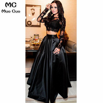 Elegant 2018 Two Pieces Gown Evening Dresses Long Sleeve with Lace Appliques Satin Formal Evening Party Dress Custom Made