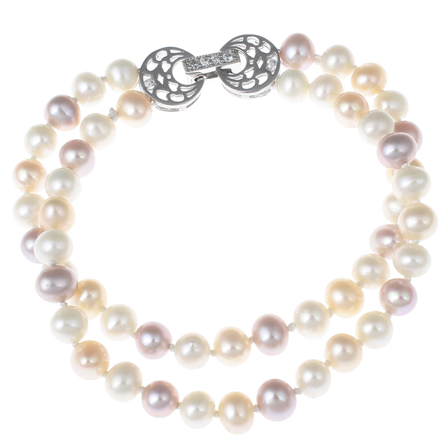 """Natural Real High Grade Freshwater Pearl Bracelet Womens Jewelry Foldover Clasp CZ cubic zirconia 2-strand 6"""" Pearl Bracelets"""