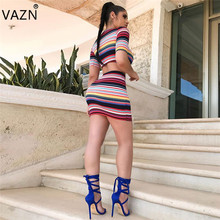 VAZN 2018 New Arrive Famous Brand Bandage Dress Short Sleeve Mini Print Dresses 2 Piece Summer Casual Dress D8107