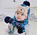 Retail warm winter baby cap shawl set infant kids child boy girl thick cotton animal hat scarf blue accessories christmas gift
