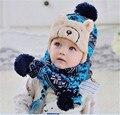 Venta al por menor caliente del bebé del invierno cap chal set infante niño boy girl algodón grueso animal bufanda sombrero azul accesorios de navidad regalo