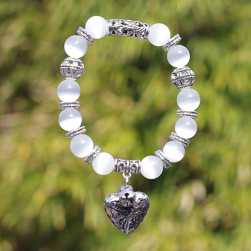 10mm Opal Obsidian Tiger Eye Natural Stone Bracelet with Heart Pendant Charms Strand Bracelet DIY Beaded Bracelet for Women Men