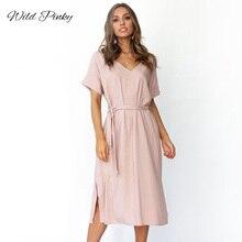 WildPinky Women Casual A Line Dress V Neck Solid Split Summer For Midi Vestidos Pocket Beach Female