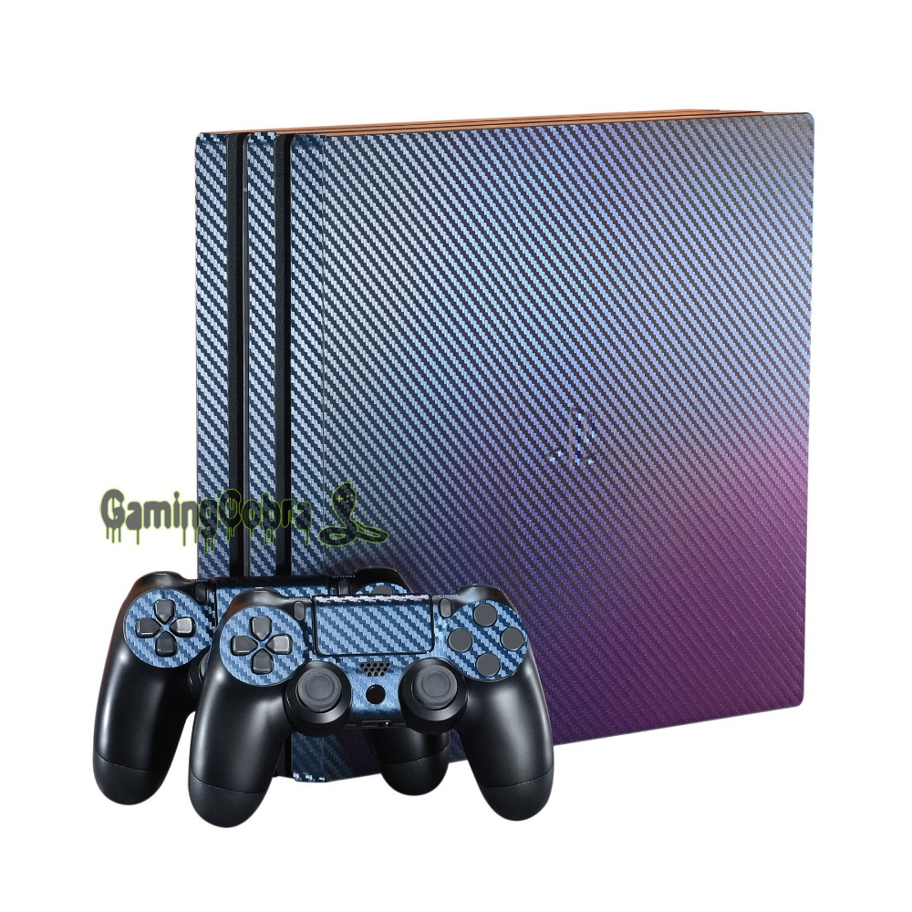 Purple and Blue Chameleon Full Faceplates Skin Decal Wrap with 2 pcs Lightbar Decals for PS4 Pro Console & Controller