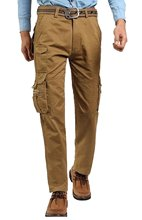 Goocyber Men's Cotton Multi-Pocket Straight Loose Ripstop Cargo Pants