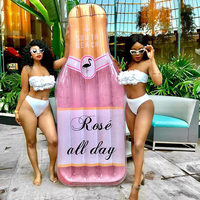 195cm Giant Sparkly Champagne Bottle Pool Float Rose Gold Gliiter Swimming Ring Lie on Air Mattress Inflatable Water Toys boia