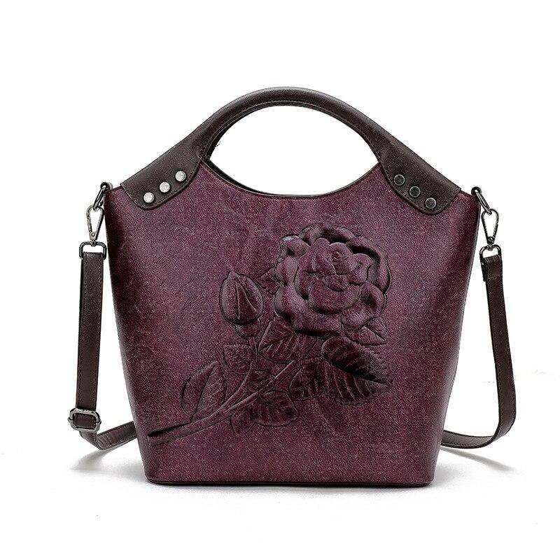 QINRANGUIO Crossbody Bags for Women 2019 New Design Women Leather Handbags with Floral Bucket Bag Women