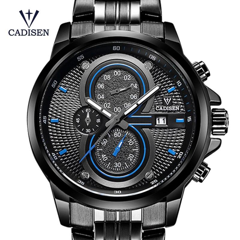 2018 New CADISEN Brand Mens Watch Sport Military Quartz Men Wristwatches Waterproof Stainless Steel Watch Box Relogio Masculino