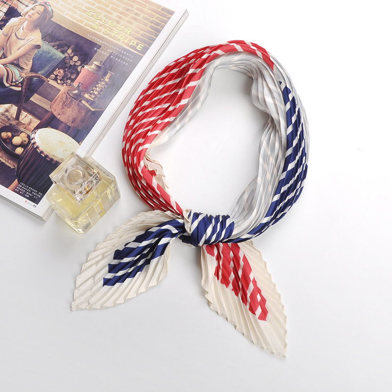 55*55cm Pleated Small Square Scarf Wrinkled Silk Headscarf Print Foulard Female Square Wrinkle Scarf Small Wrinkled Decorative H