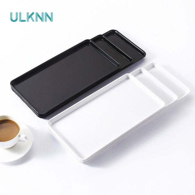 Plastic Fast Food Tray Restaurant Serving Trays For Tea/Cake Kitchen Bar Dinnerware European Hotel Long Plate Black and White