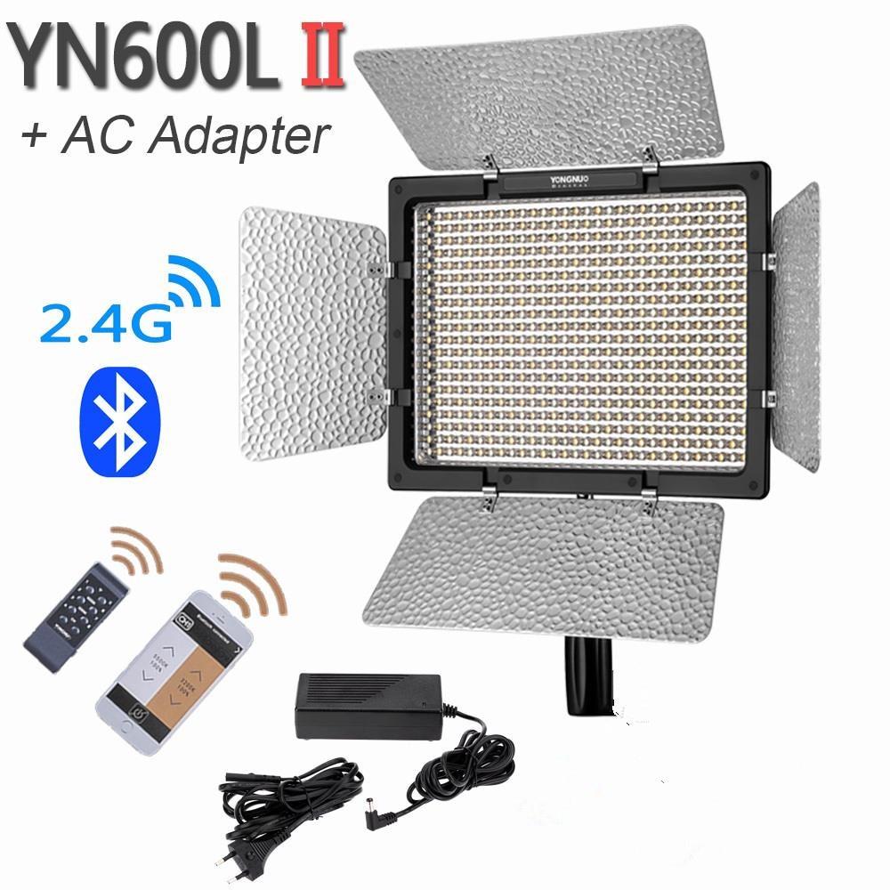 YONGNUO YN600L II YN600II 600 LED Video Light Panel With AC Power Adapter, Studio Lighting 3200-5500K Dimmable