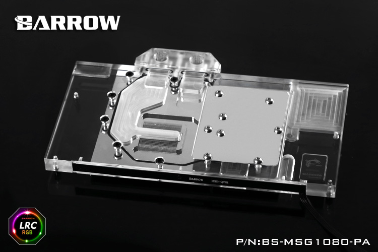 Barrow BS-MSG1080-PA LRC RGB v1/v2 Full Cover Graphics Card Water Cooling Block for MSI GTX1080/1070/1060 X qqv6 aluminum alloy 11 blade cooling fan for graphics card silver 12cm