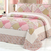 100%Cotton Pink Floral Bedspread Plaid Patchwork Bedspread Coverlet Quilte set Queen size 3pcs Bed cover set Pillow shams(China)