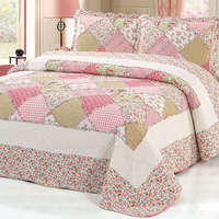 100%Cotton Pink Floral Bedspread Plaid Patchwork Bedspread Coverlet Quilte set Queen size 3pcs Bed cover set Pillow shams