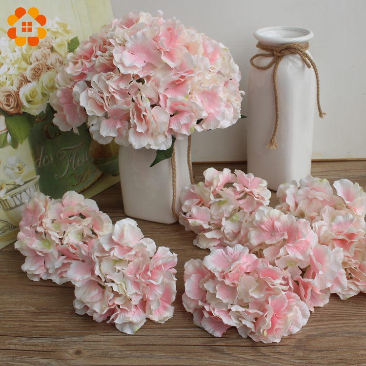 10pcs decorative artificial silk hydrangea heads for Artificial flowers decoration home