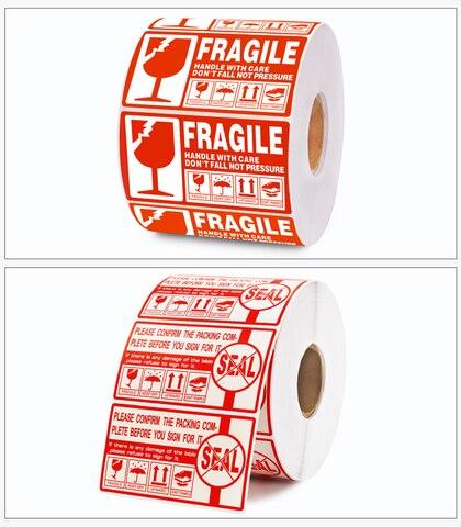 100x100 90x50mm etiquetas da caixa do cuidado selo