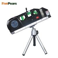 Laser Level Horizon Vertical Measure 8FT Aligner Standard And Metric Ruler Multipurpose Measure Level Laser Black