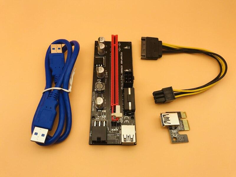 6 pièces usb dernière génération 3.0 VER009 PCI-E Riser VER 009 S Express 1X 4x 8x 16x Extender adaptateur câbles montants Carte SATA 15pin à 6 broches câble d'alimentation
