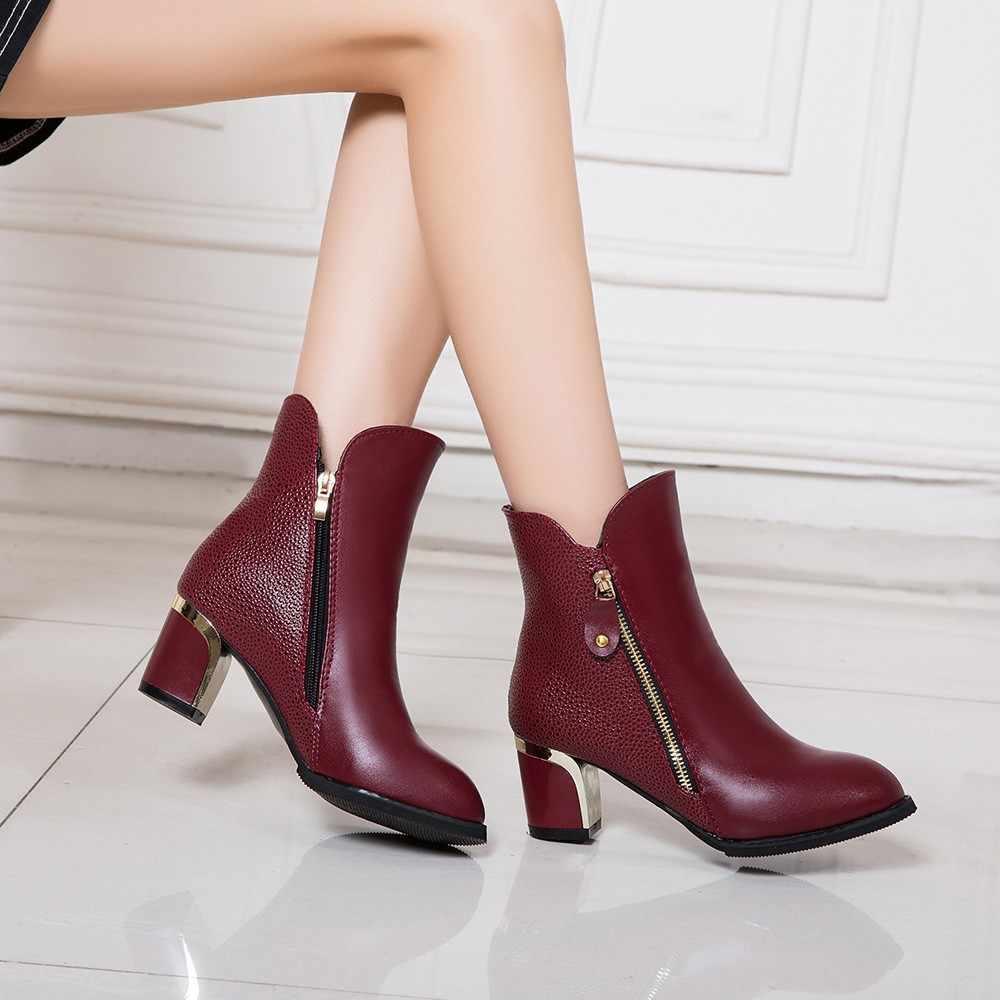 YOUYEDIAN Moda Çıplak Çizmeler Kalın Topuk Pompaları İngiltere Martin Çizmeler Sivri Burun kadın ayakkabısı sapatos mulheres conforto # BP804