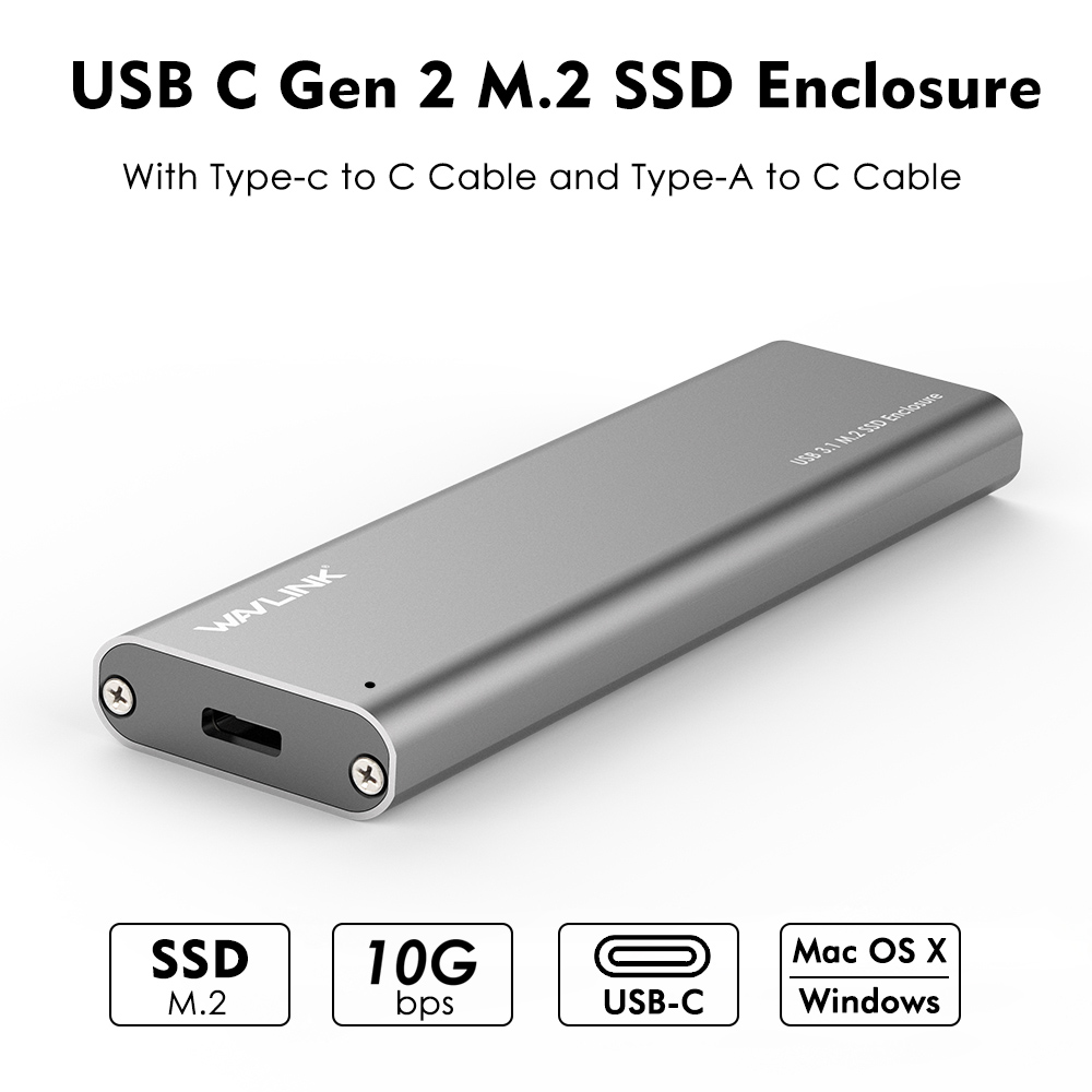 Wavlink Enclosure SSD Hard-Drive Up-To-10gbps Type-C M.2 USB-C GEN NGFF SATA for B-Key