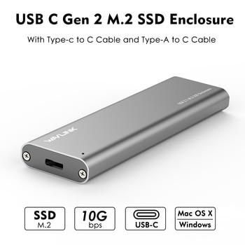 USB-C M.2 NGFF SSD SATA Enclosure USB 3.1 Tipo-c GEN 2 M.2 SSD Enclosure Fino a 10 Gbps wavlink Per M.2 NGFF SSD hard drive TASTO B