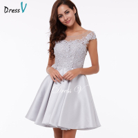 Dressv Homecoming Dress Cheap Peach A Line Mini Appliques Cocktail Party Dress Above Knee Cheap Gray