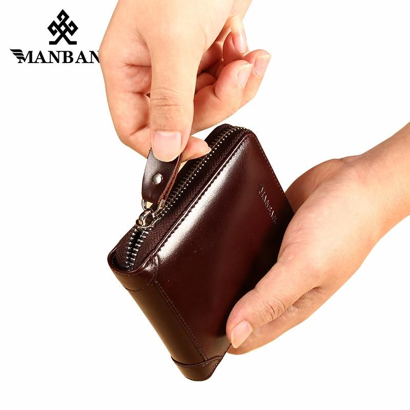ManBang New Men's Wallet Genuine Leather Men's Zipper Male Short Coin Purse Pockets Fine Gift For Card Holder High Quality