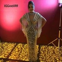 Роскошное платье с кисточками для матери невесты 2019 длинное платье vestidos de novia с кристаллами и бисером, с открытой спиной, Серебряное платье д