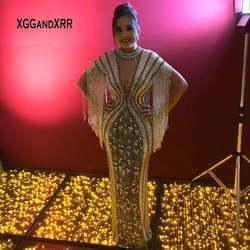 Роскошное платье с кисточками для матери невесты 2019 длинное платье vestidos de novia с кристаллами и бисером, с открытой спиной, Серебряное платье