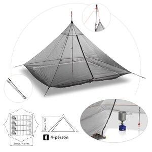 Image 3 - 620g خفيفة التخييم خيمة الداخلية 4 أشخاص 3 مواسم 40D النايلون تنفس شبكة خالية يغرق مثمنة الهرم قعر خيمة ضخمة