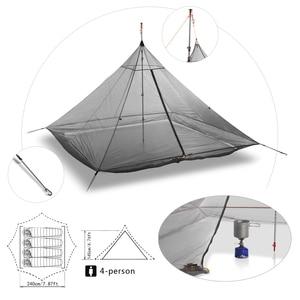 Image 3 - 620g Ultralight Camping Inner Tent 4 Personen 3 Seizoenen 40D Nylon Ademend Mesh Stangloze Achthoekige Piramide Bodemloze Grote Tent