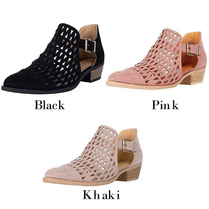 MoneRffi mujeres Primavera Verano Sandalias Zapatos planos Sandalias cómodas cómodo tacón bajo cerrado puntiagudos botas 2019 Mujer