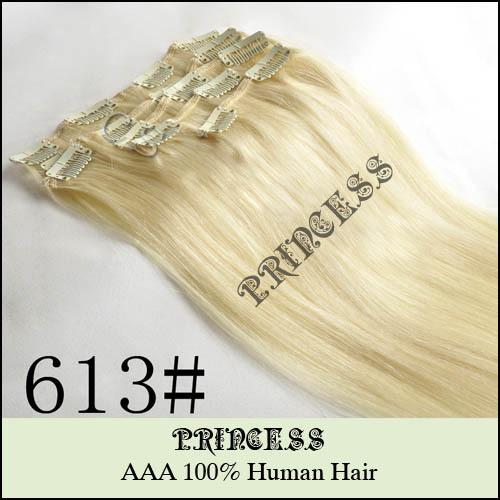 """20 """" - 26 """" de Remy cabelo clipes retas em extensões 105 g loiro claro # 613"""
