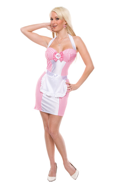 Sexy Pink White Charming Cosplay Maid Deguisement Adultes Festif Halloween Maid Costume For Wonder Woman