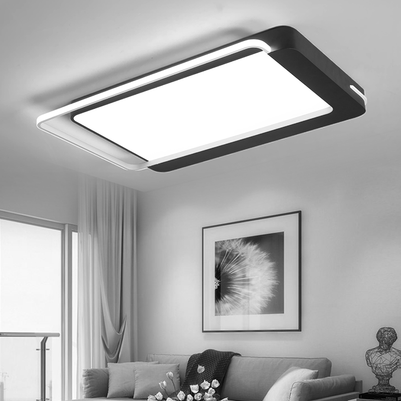 Black iron ceiling light for Living room Bedroom Kitchen lights ceiling Lamps indoor home lighting rectangle ceiling light 3 colors dimming led ceiling light 650x380mm living room lights modern brief bedroom ceiling lamps rectangle indoor lighting