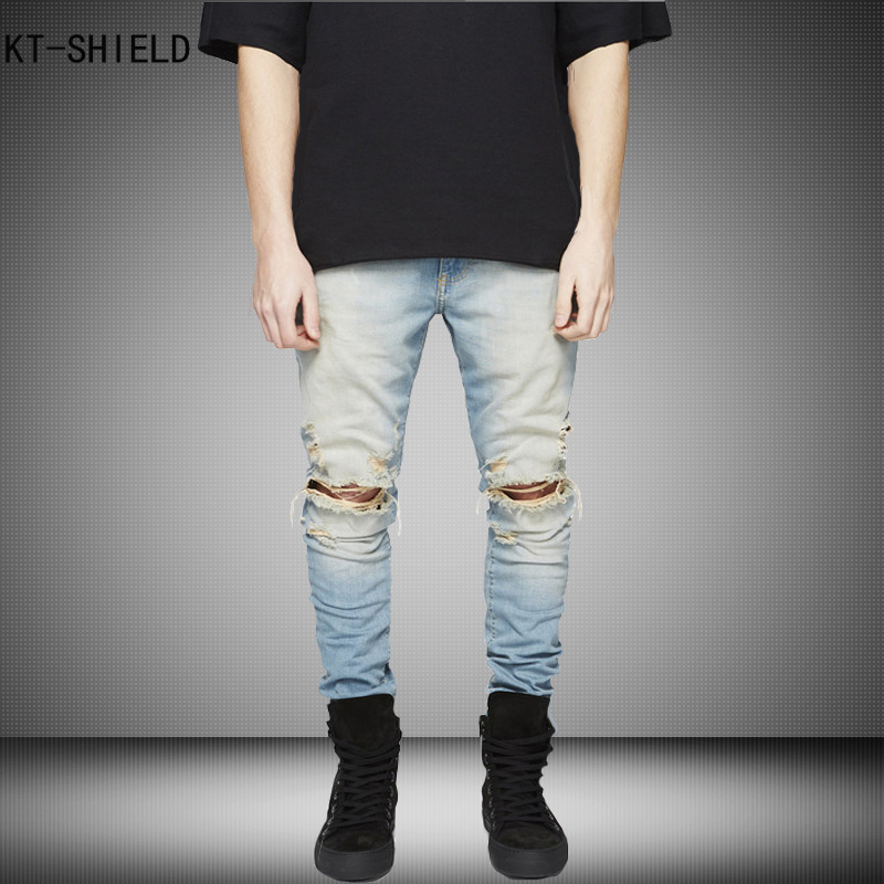 New Ripped biker jeans Men With Holes Super Skinny jeans homme Famous Designer Brand Slim Fit Destroyed Torn Jean Pants For Male 2016 italy famous men s jeans new brand men slim fit jeans trousers wear white ripped skinny ripped denim jeans for men