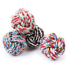 3 Size Colorful Cotton Braided Dog Toy Ball Bite Resistant Chew Toys Diameter 5/7/9cm Random Color Doy