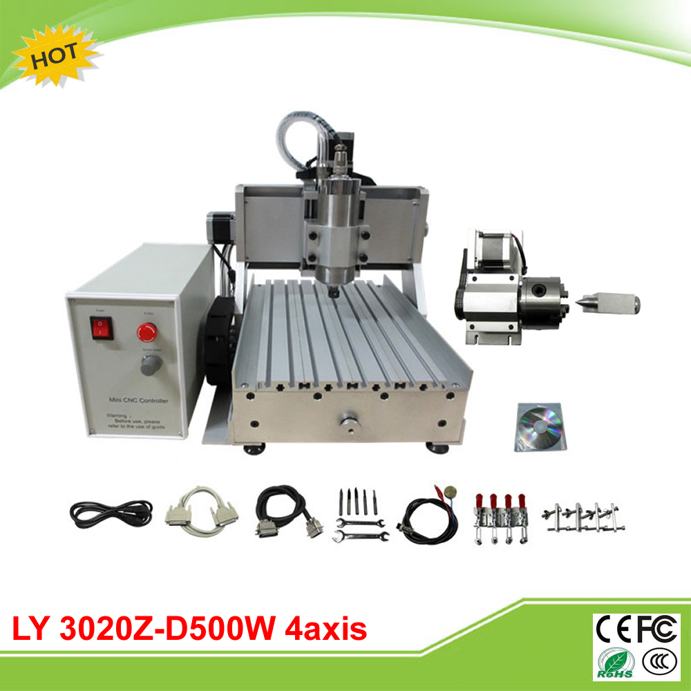 LY CNC 3020Z-D500W 4 axis mini CNC router grinder assembled duty free to EU ly cnc 6090v 2 2kw 4 axis mini cnc router vfd control box grinder