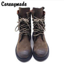 Careaymade-Autumn/winter female Handmade Ma Ding boots high quality Warm boots,Genuine leather British style Retro short
