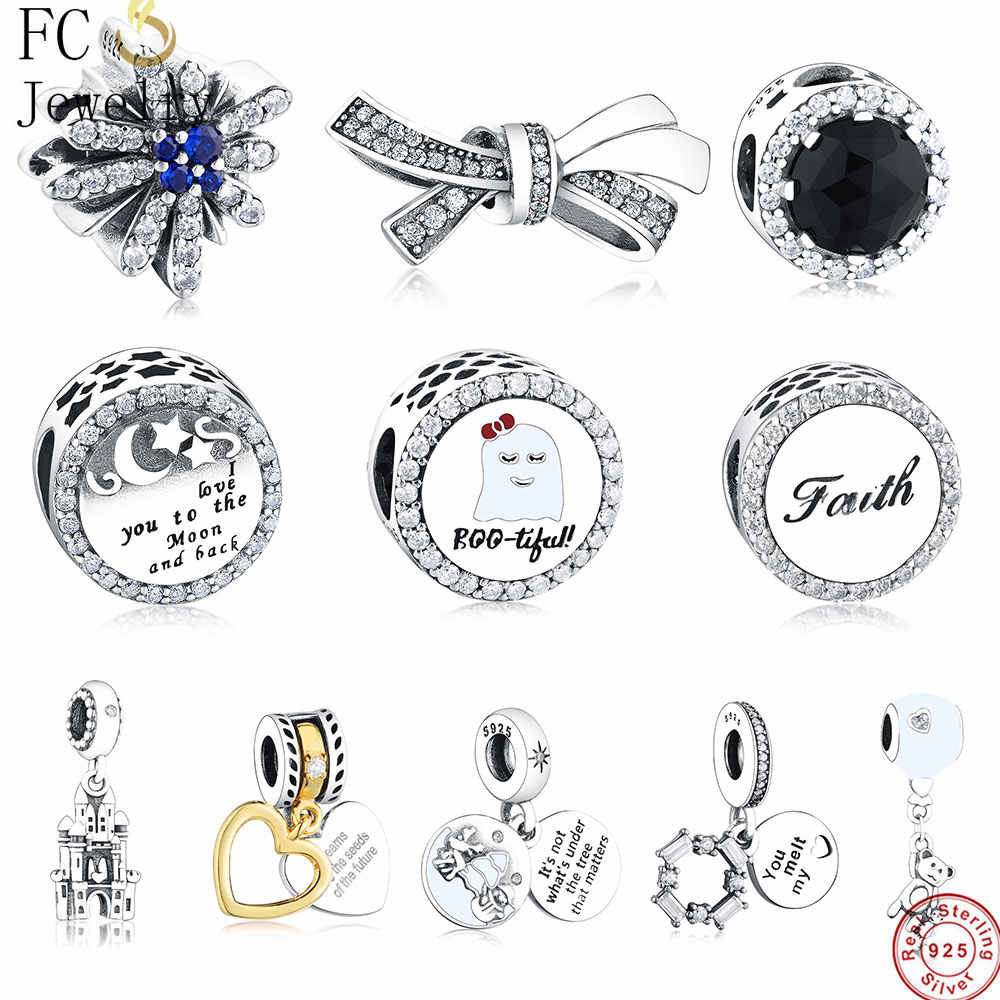 8ba7c8341 FC Jewelry Fit Original Pandora Charms Bracelet 925 Silver Letter I love you  to The Moon
