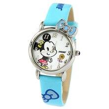 Disney бренда детские часы Микки Девушка кварц 30 м водонепроницаемый Лук дети часы Женские наручные часы