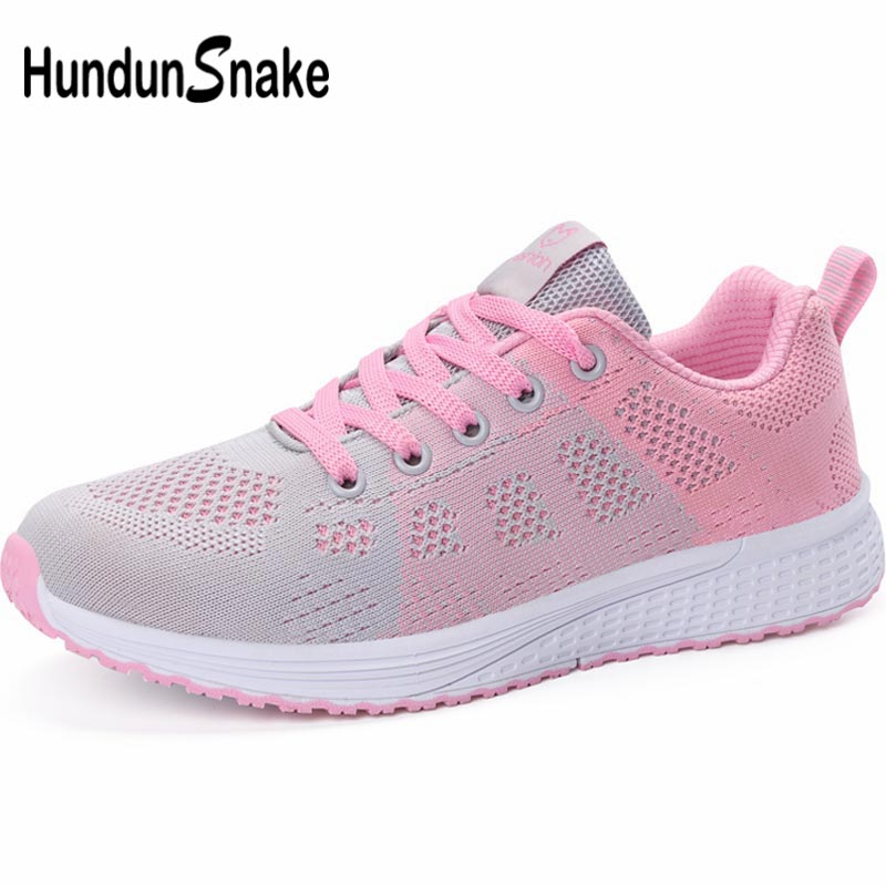 Hundunsnake Breathable Sport Shoes For Women Sports Shoes Female Women's Sneakers Summer Women's Running Shoes 2019 Pink A-062