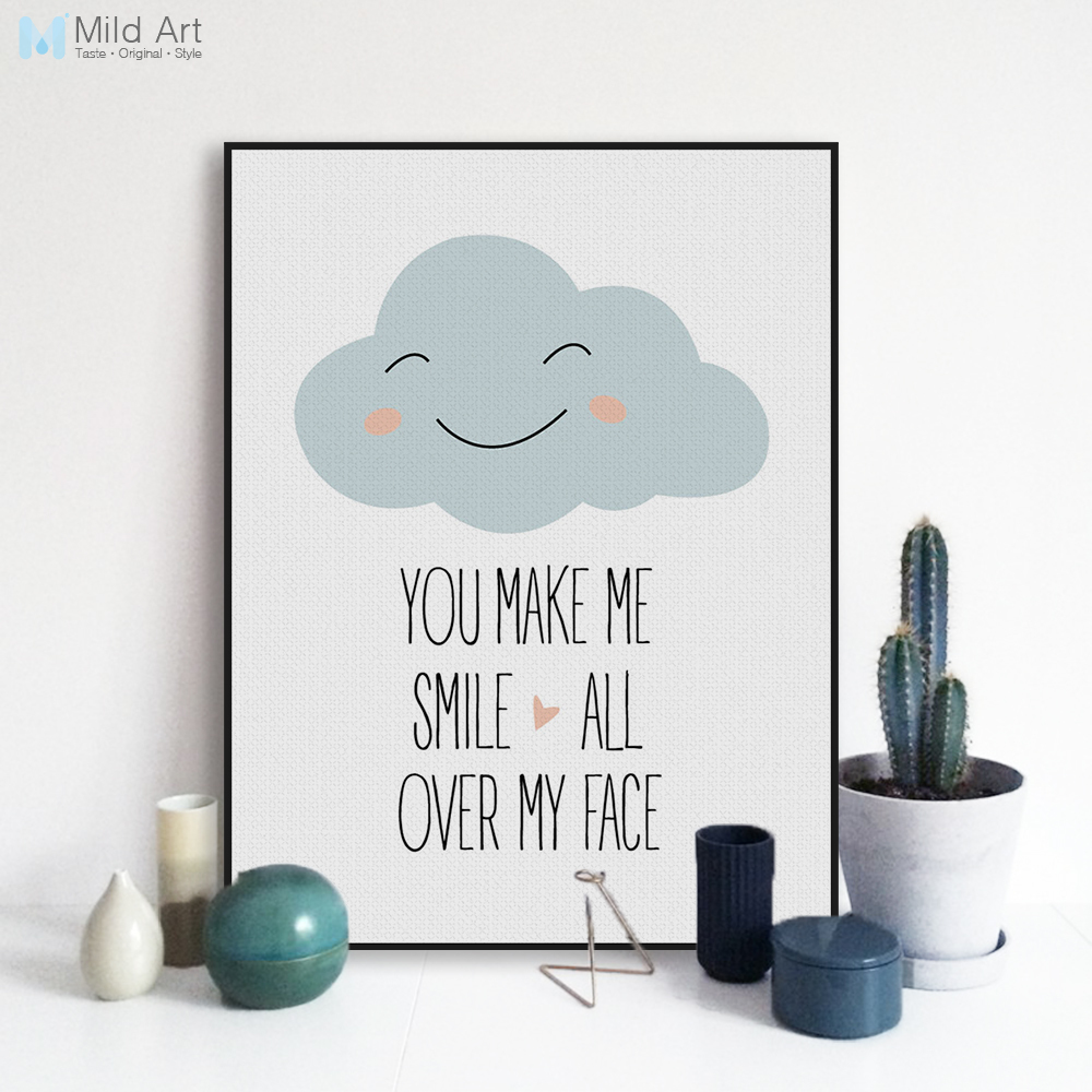 Wolken Kinderkamer Us 3 47 45 Off Kawaii Glimlach Wolken Liefde Inspireren Quotes Poster Prints Nordic Baby Kinderkamer Wall Art Foto Home Decor Canvas Schilderij Geen