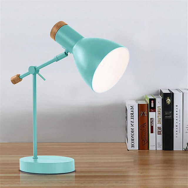 Nordic Modern Eye-protected Aluminum Wood Flexible Led E14 Table Lamp for Study Living Room Bedroom Office Deco 1605