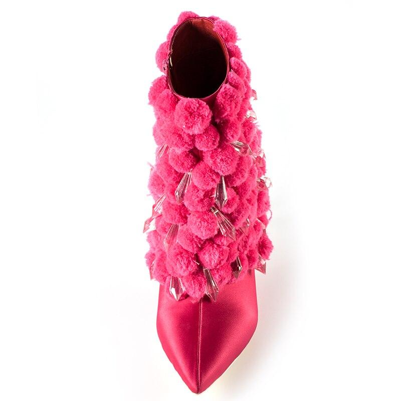 Ayakk.'ten Ayak Bileği Çizmeler'de Marka Pembe Avuç Içi Kış Çizmeler Kadın Yüksek Topuk Çizmeler Sivri Burun yarım çizmeler Kadınlar için Moda Tasarım Peluş kadın botları'da  Grup 3