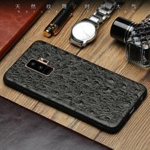 Genuine custodia in pelle Telefono Per Samsung S10 S8 S9 Più A70 caso di Struzzo texture della pelle della copertura posteriore Per La Nota 10 9 A5 A9 J7 2017 casi