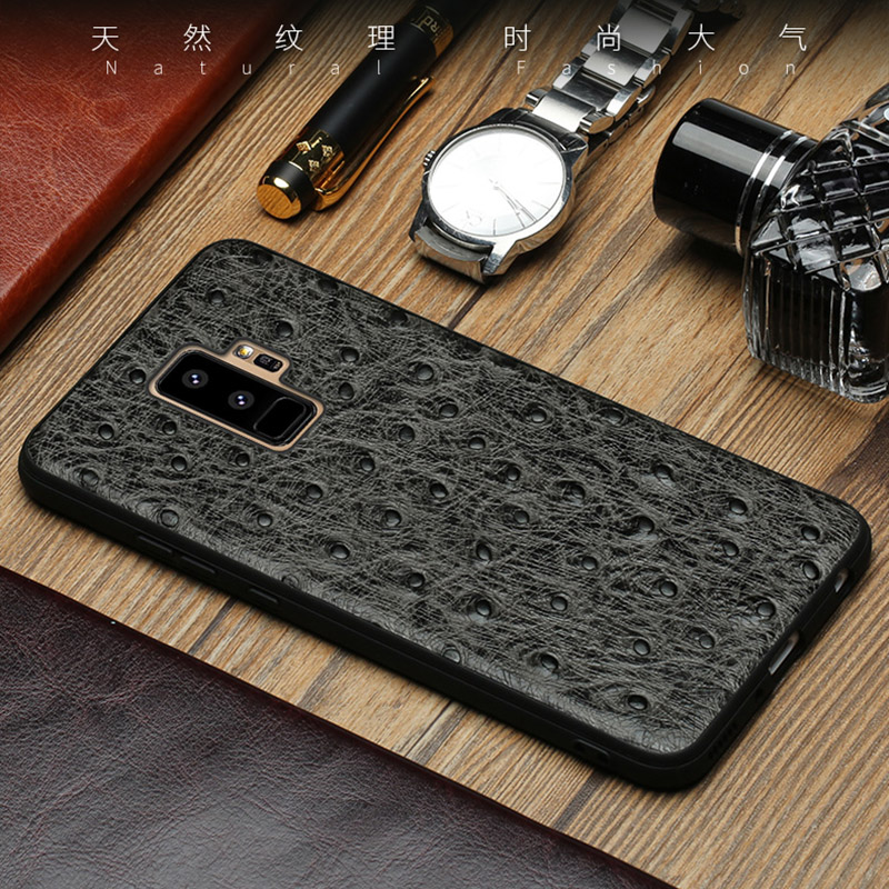 Genuine leather Phone case For Samsung S9 Plus case Ostrich skin texture back cover For S7 S8 A3 A5 A7 A8 J3 J5 J7 2017 cases